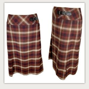 Jones Wear Multicolor Plaid Front Slit Skirt 14